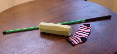 clicker target stick with sock